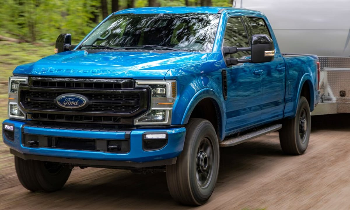 New Ford Super Duty F-250 Tremor off-road package pulling a large trailer