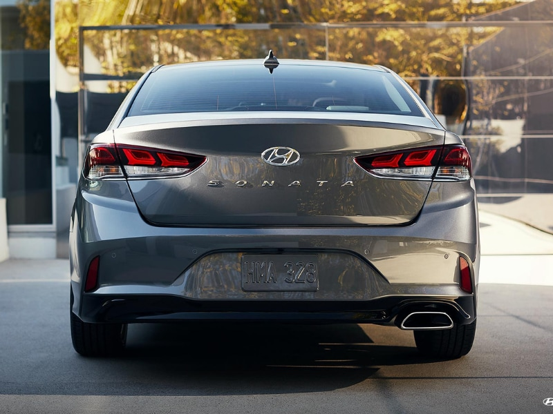 2019 Hyundai Elantra gray exterior color rear angle view