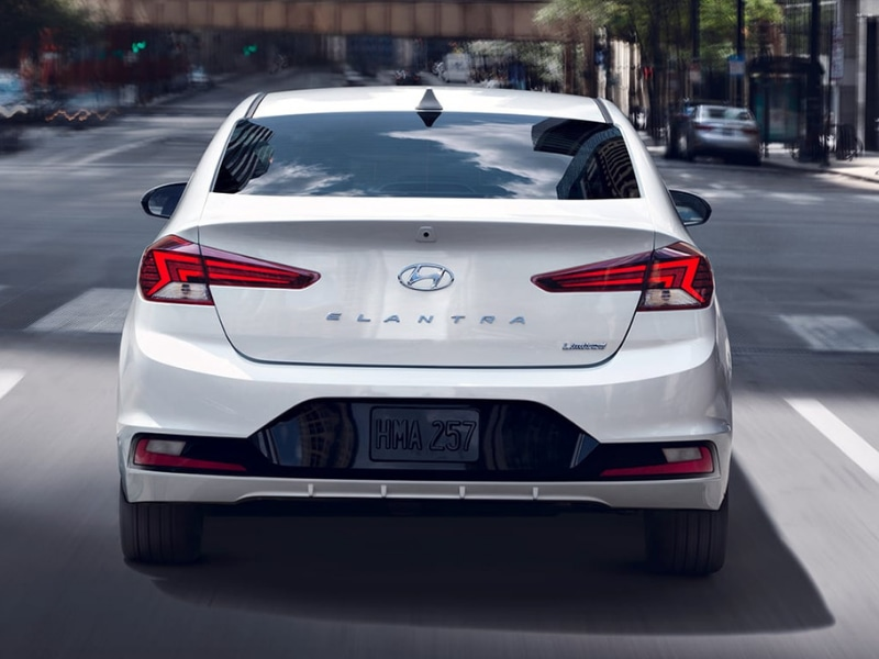 2019 Hyundai Elantra white exterior color rear angle view