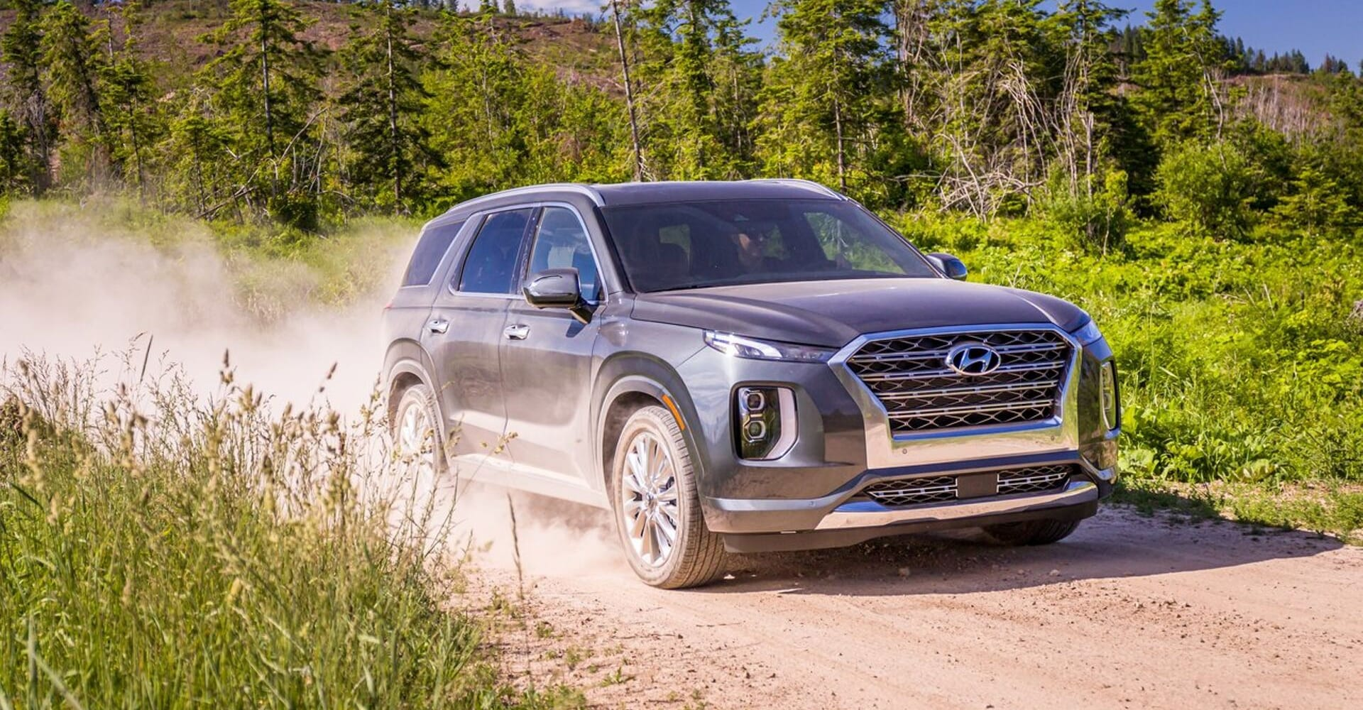 2020 Hyundai Palisade leaving a big dust trail off a forest dirt road