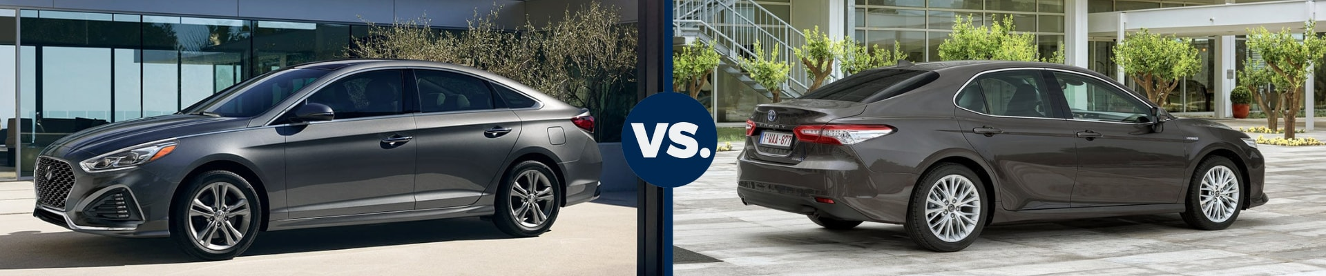 Exterior comparison of the 2019 Hyundai Sonata vs 2019 Toyota Camry sitting back to back