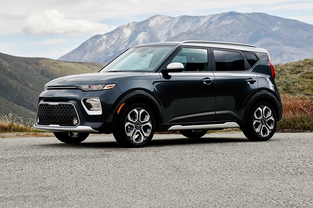 Black 2020 Kia Soul parked with Colorado mountains in the background