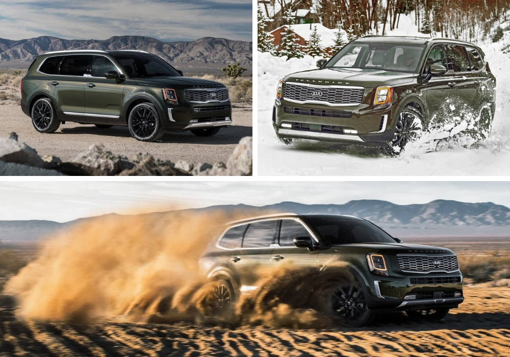 2020 Kia Telluride exterior on a rocky road mountain range, powering through thick snow, and ripping through deep sand dunes