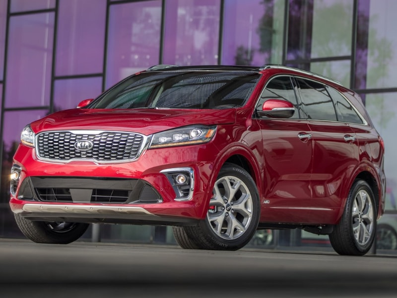 2020 Kia Sorento SUV red color black roof parked