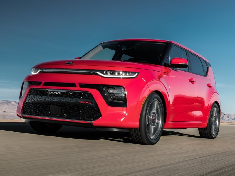 2020 Kia Soul red color driving open road
