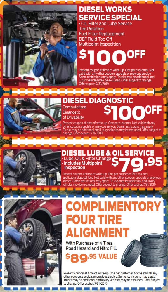 printable cut out coupons for auto service specials on diesel engines in Colorado Springs