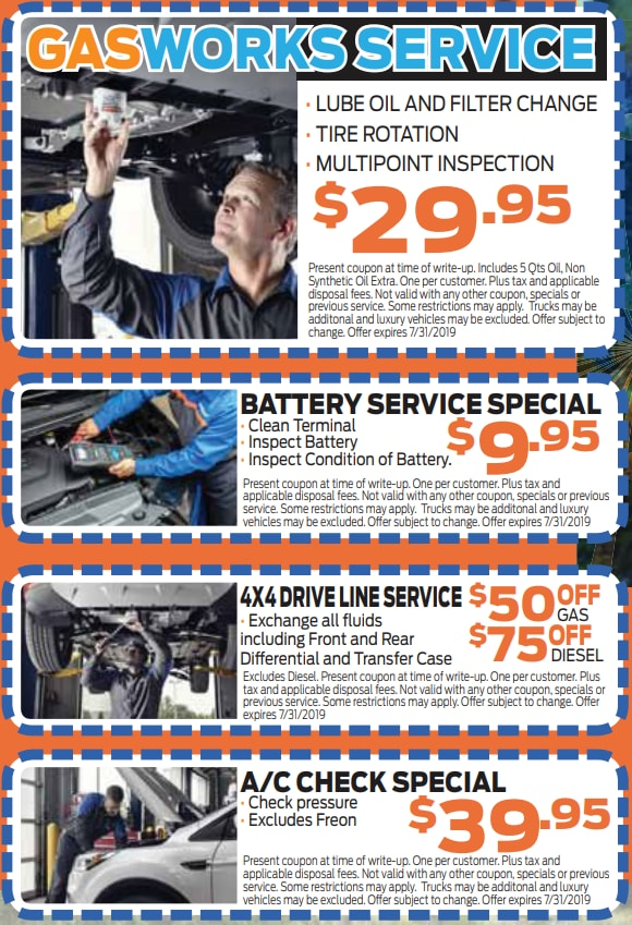 auto service coupons in Colorado Springs print cut out and bring to Phil Long Ford Motor City