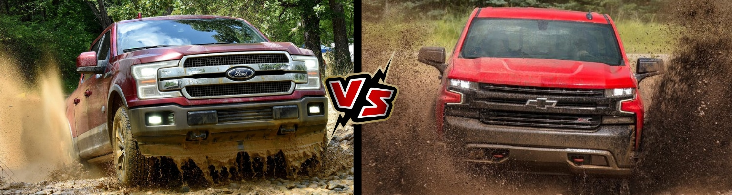 front exterior comparison of the 2019 Ford F150 vs 2019 Chevy Silverado