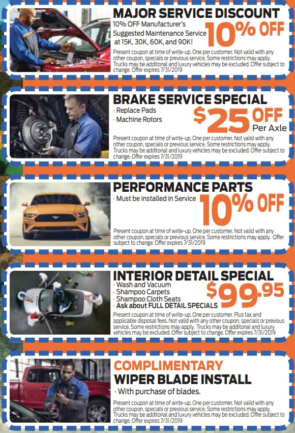 printable cut out auto service specials coupons in Colorado Springs at Phil Long Ford Motor City