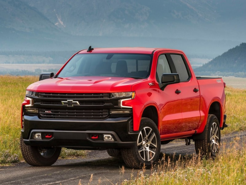 Exterior view of a 2019 Chevy Silverado parked on a small mountain road