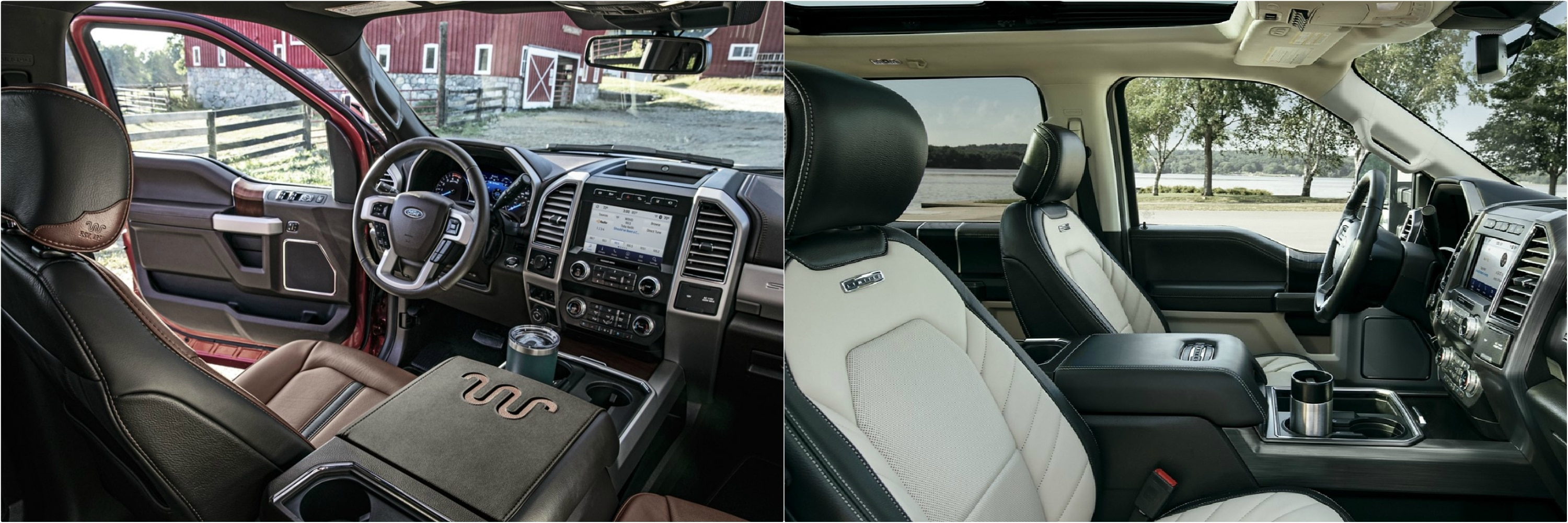 interior seating comparison of a 2021 and 2020 Ford Super Duty