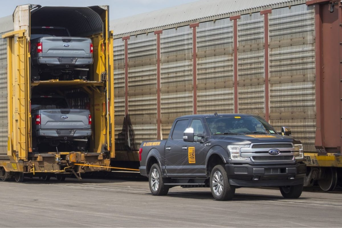 Future all-electric Ford F-150 prototype towing 1m+ pounds