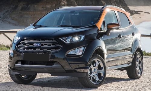 2020 Ford EcoSport orange-black duo tone parked mountains city background