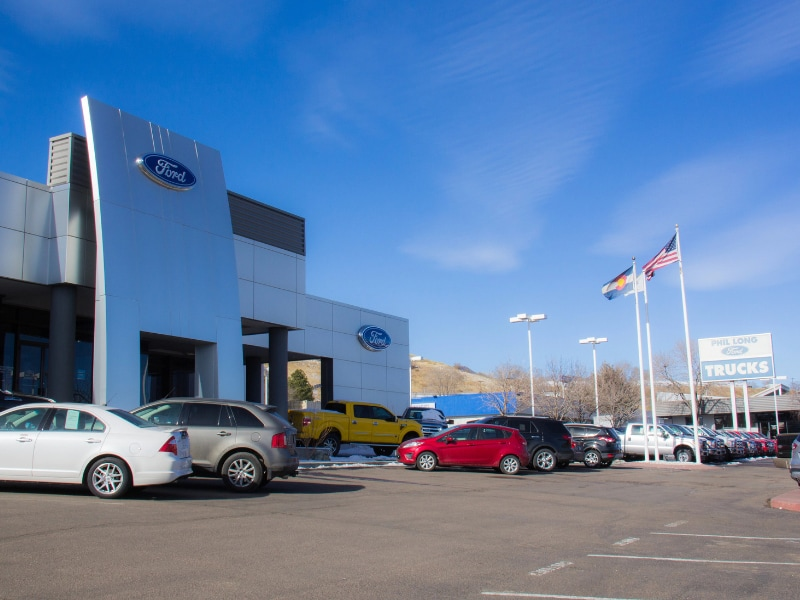 Image of the front of the Phil Long Ford Dealership in Colorado Springs on Motor City Drive
