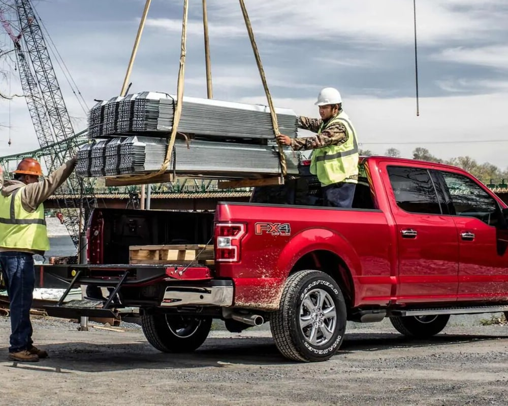 2019 F-150 payload useful in a construction zone loading heavy materials in the sturdy truck bed