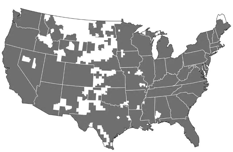 U.S. map of charging stations