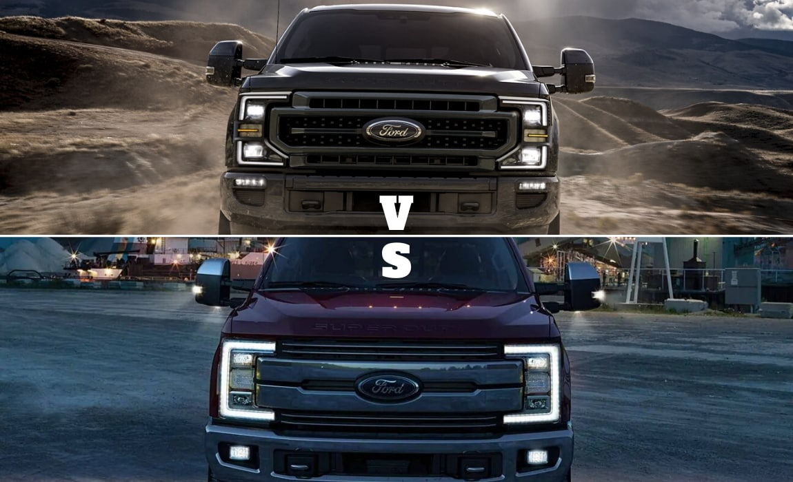 2020 Ford Super Duty compared to the 2019 Super Duty front exterior grilles