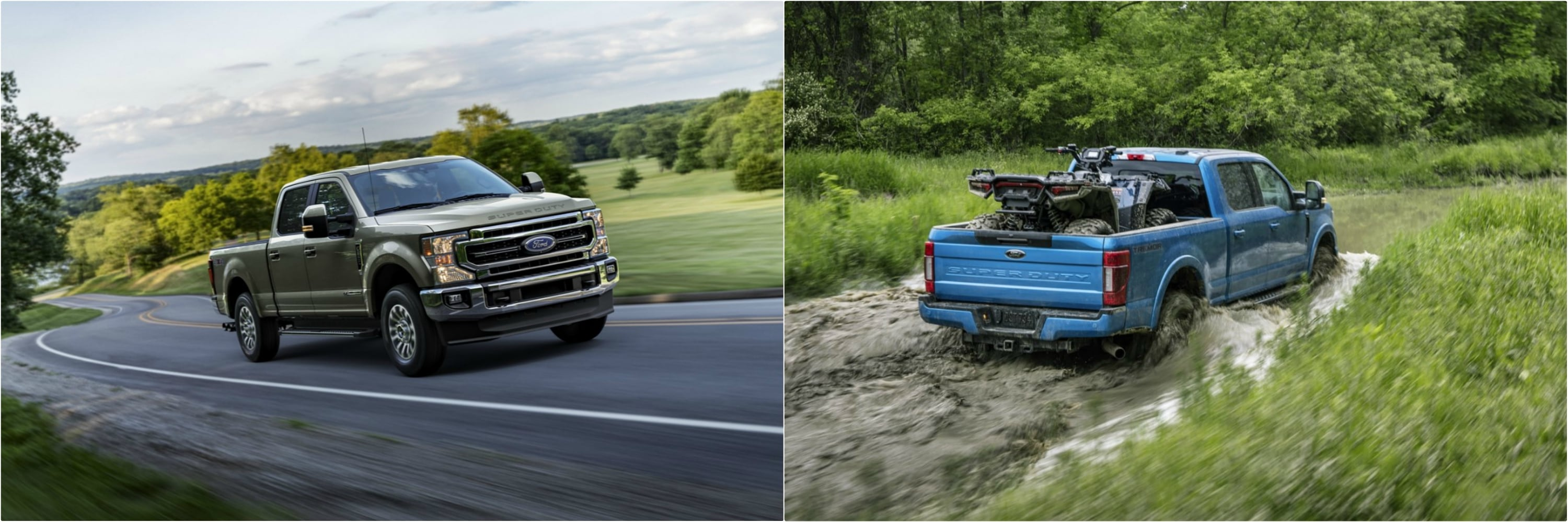New Ford Super Duty Trucks driving on pavement and through water