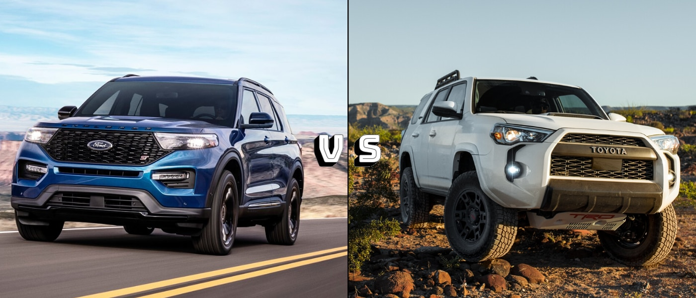 2020 Ford Explorer ST exterior design compared to the 2020 Toyota 4Runner TRD Pro
