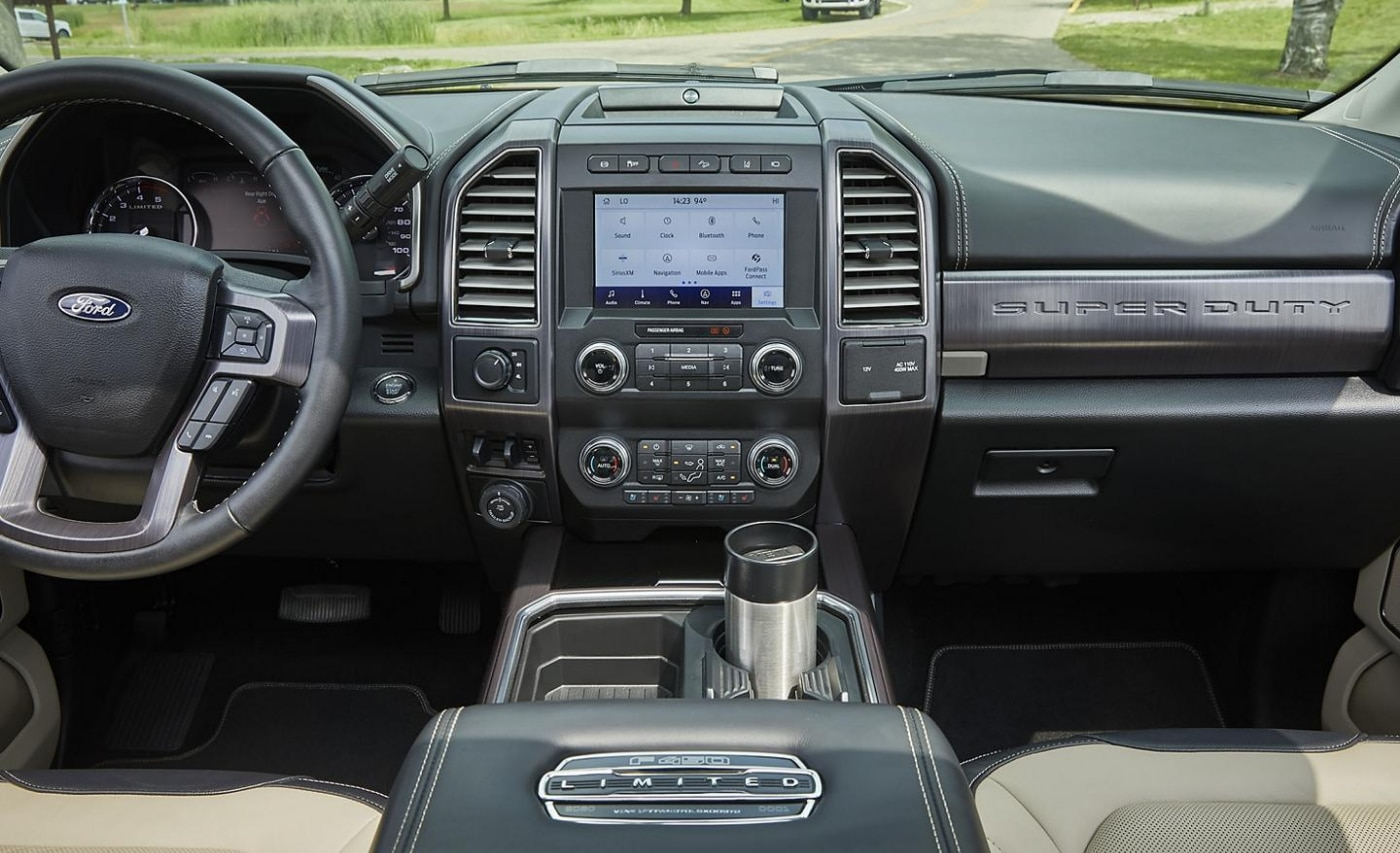 Interior design of the front dashboard and center console inside the new Ford Super Duty