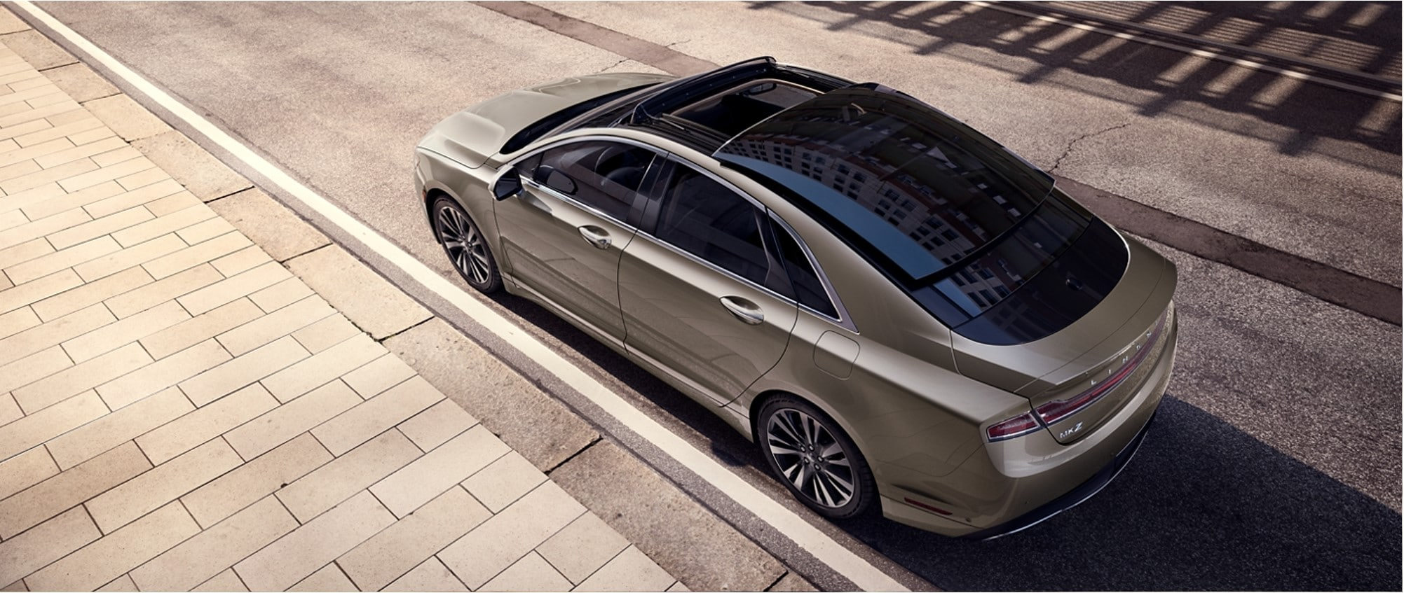 the panoramic glass roof of a new 2020 Lincoln MKZ