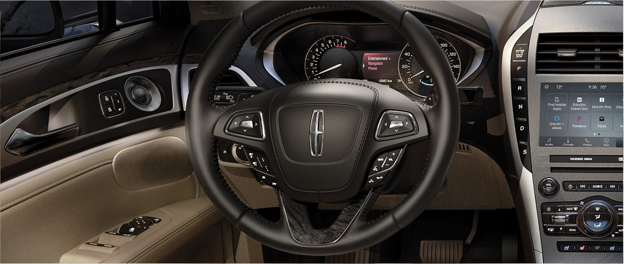 A 2020 Lincoln MKZ dark interior dashboard