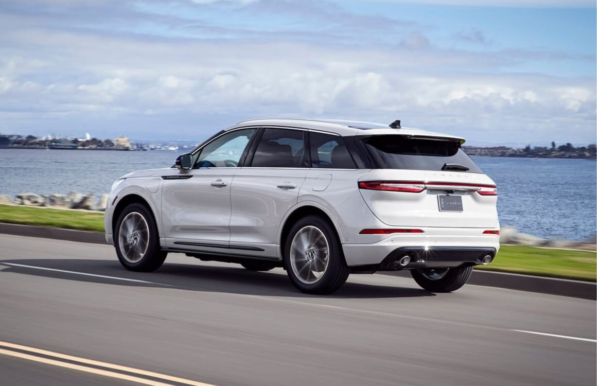 2020 Lincoln Corsair rear exterior view in-motion driving down a highway