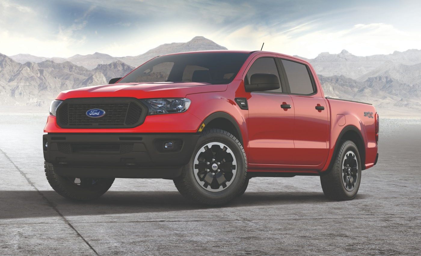 New STX Special Edition package seen on  a red 2021 Ford Ranger XL truck