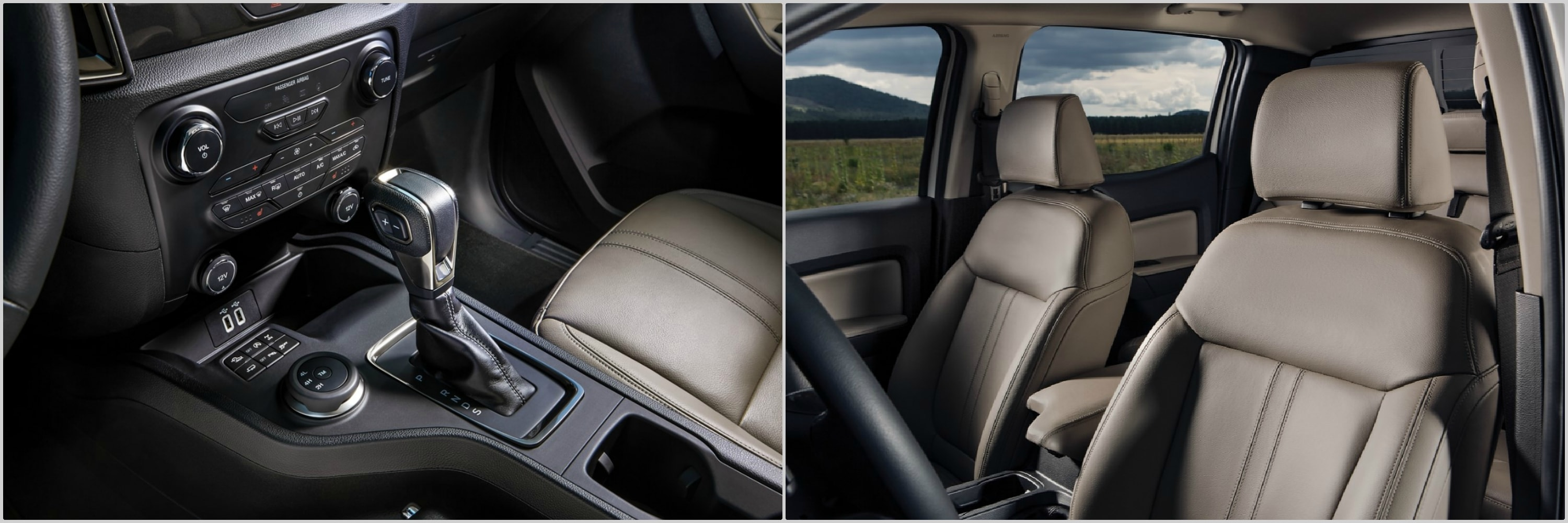 the interior seating and dashboard of a 2020 and a 2021 Ford Ranger