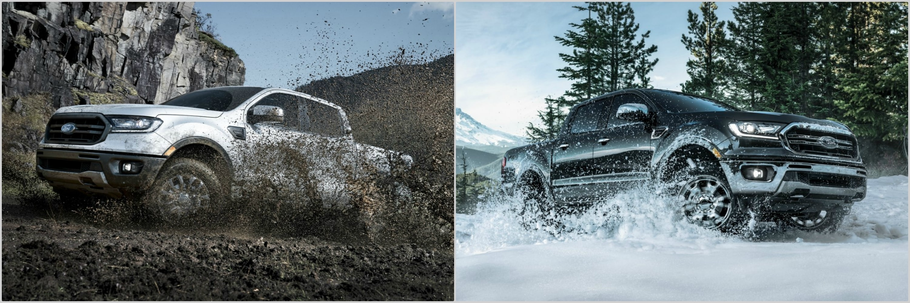 a 2021 Ford Ranger driving through thick mud next to a 2020 Ford Ranger driving through snow