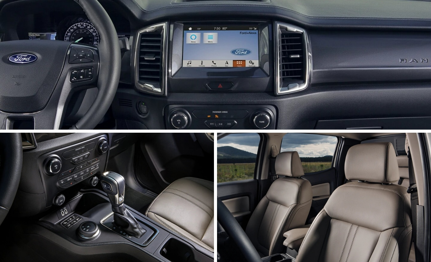 Three piece grid image showing the interior layout of the new Ford Ranger