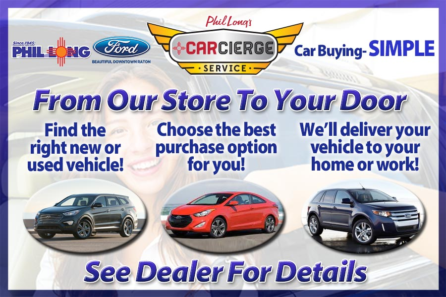 Flyer showing the details of the Phil Long Carcierge service of delivering cars from the dealership to your home