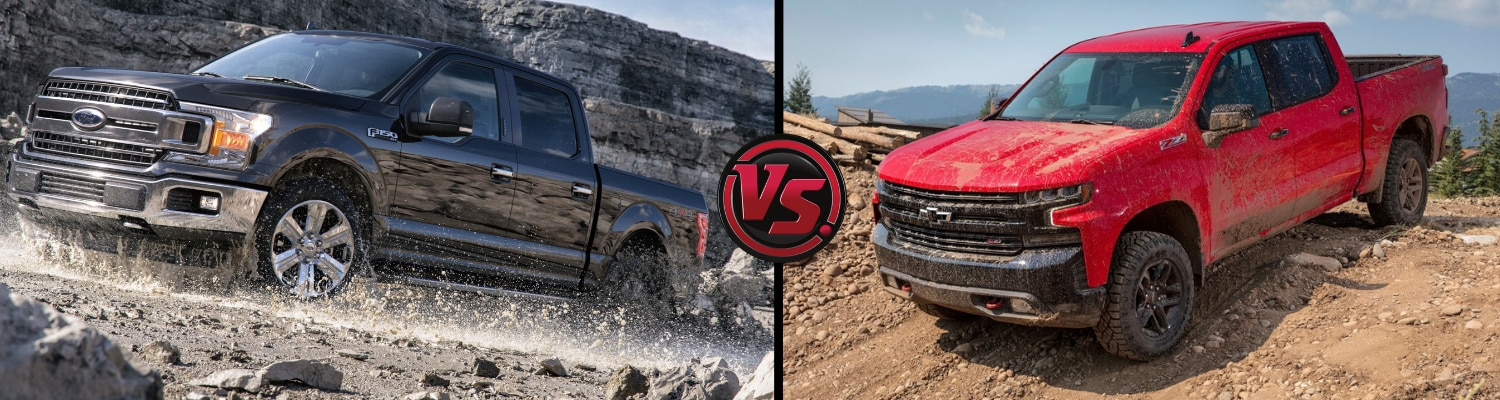 Head to head view of a 2019 Ford F-150 compared to the 2019 Chevy Silverado