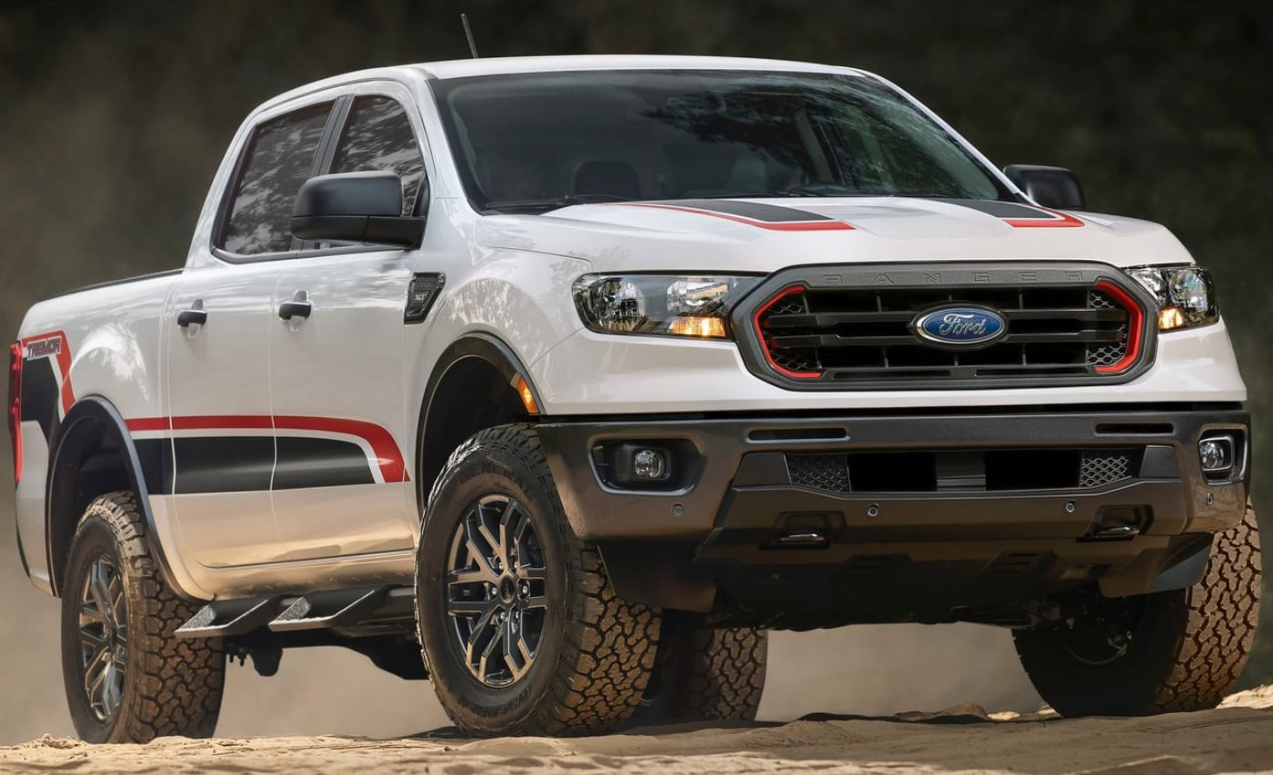 All-new 2021 Ford Ranger Tremor Off-Road package in white exterior color with red/black decals
