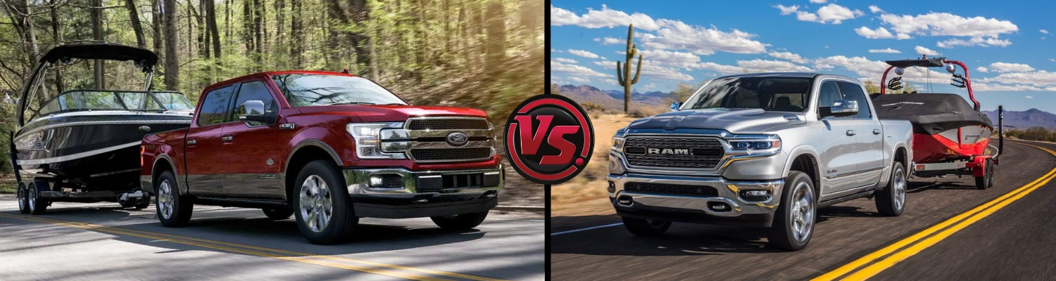 Head to head comparison of the 2019 Ford F-150 to the 2019 Dodge ram towing boats