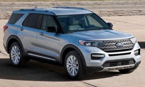 2020 Ford Explorer silver parked abandoned air strip mountains