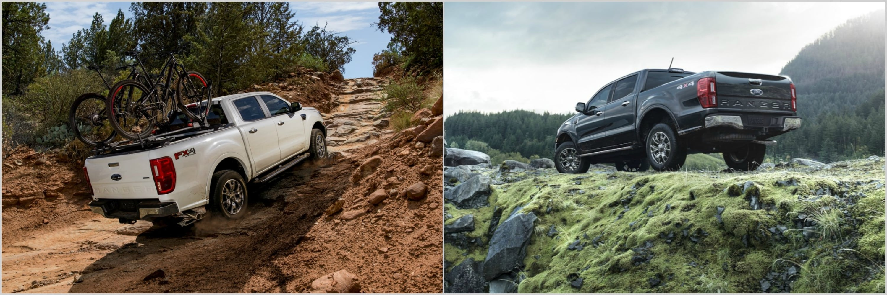 the back bumpers of a 2021 and a 2020 Ford Ranger driving up steep rocky roads