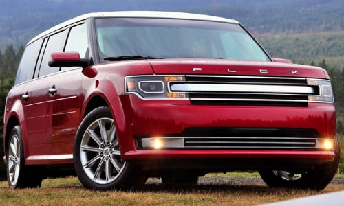 2020 Ford Flex red white roof parked grassy hill