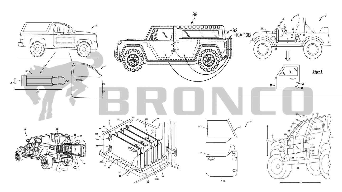 Diagram showing 9 new patents secured by Ford related to the new upcoming Ford Bronco