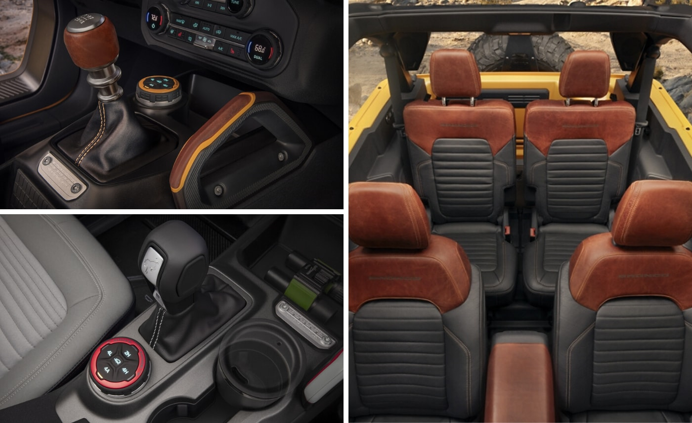 Three piece image showing the interior of the 2021 Ford Bronco with manual and automatic gear sticks, 4x4 controls, and a top-down view of seating with the top removed