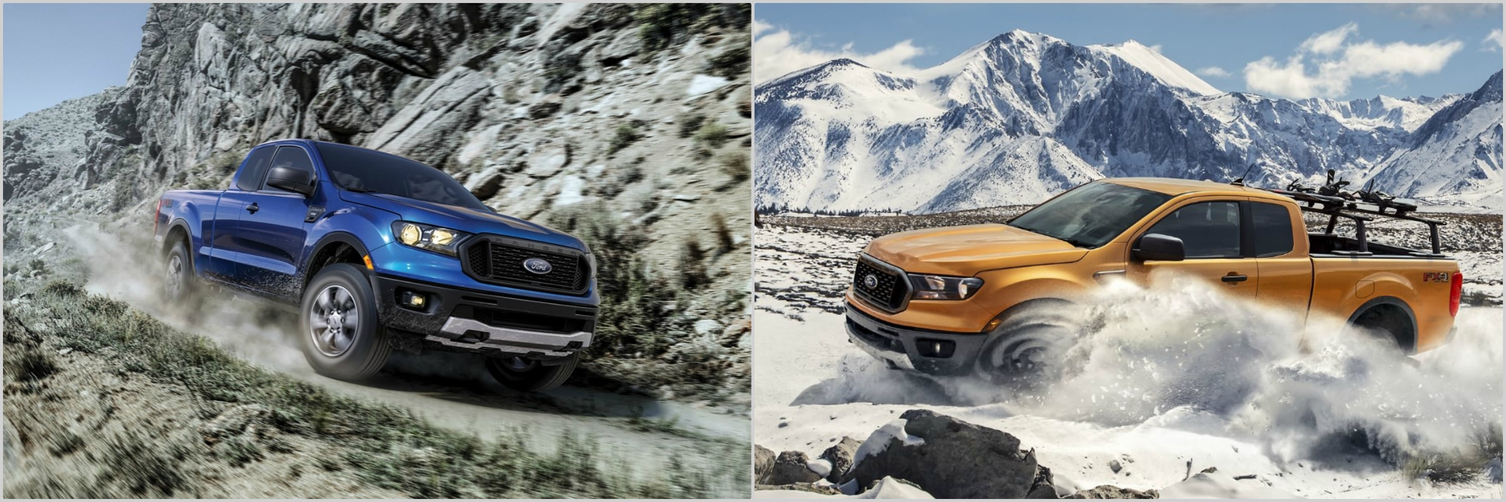 a blue 2021 Ford Ranger driving down a rocky mountain road side-by-side a 2020 Ford Ranger driving up a snow covered desert road