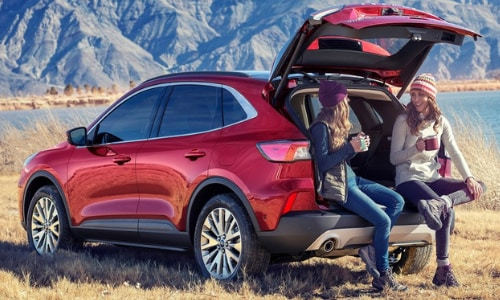 2020 Ford Escape red 2 women drinking coffee mountains background