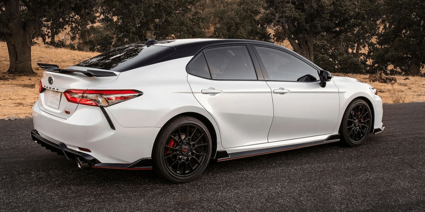 2020 Toyota Camry TRD passenger side rear exterior white black duo tone color