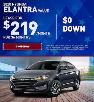 2020 Hyundai Elantra Value $0 Down