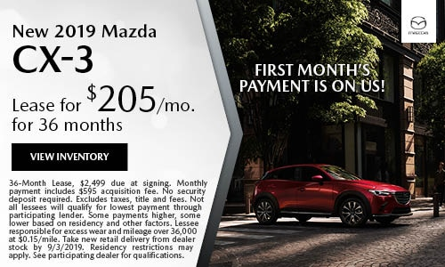 August 2019 Mazda CX-3 Lease Offer