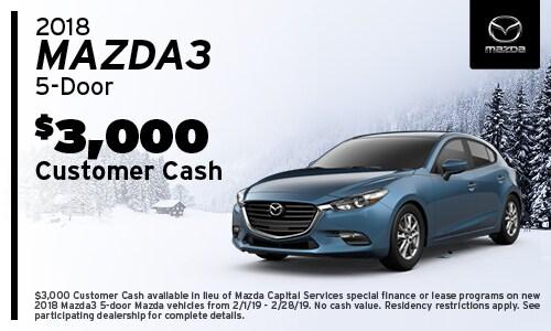 '18 Mazda3 Hatchback Cash Offer