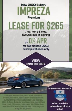 August New 2020 Subaru Impreza Premium Offers