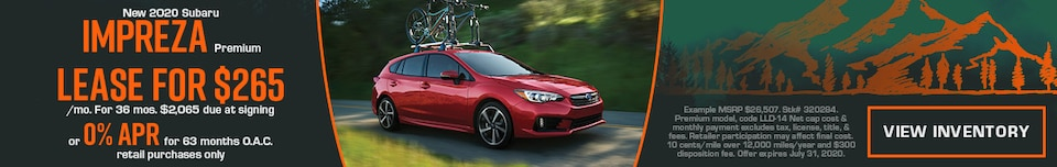 July New 2020 Subaru Impreza Premium Offers