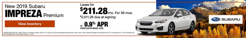 October New 2019 Subaru Impreza Premium Offers