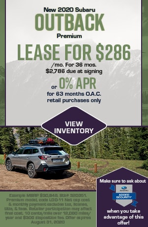 August New 2020 Subaru Outback Premium Offers
